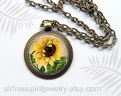 Sunflower Necklace, Sunflower Earrings, Photo Glass Necklace, Boho, Accessory, Floral Accessory, Sunflower Bronze Pendant, Gift for Women,