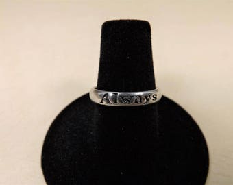 ALWAYS Ring, Sterling Silver Ring, 925 Sterling Silver, Estate Jewelry,  Size 6.5,  Simple Band with Always