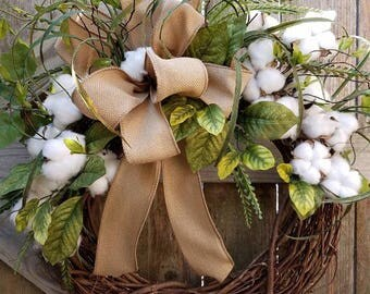 Cotton Wreath, Fixer Upper Wreath, Primitive Wreath, Front Door Wreath, Cotton Grapevine, Farmhouse Wreath, Cotton Burlap Wreath