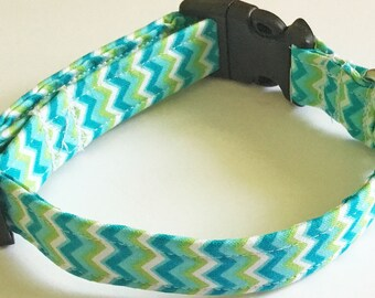 Aqua & Green Chevron Summer Collar for Dogs and Cats