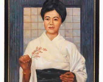 Harry Hahn Oil Painting Japanese Woman Kimono Vintage Art