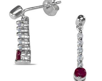 Antique Ruby & Diamond Earrings Antique Earrings 10k White Gold Earrings Ruby Earrings Drop Earrings Push Back Earrings for Women