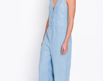 Wide legs Playsuit, jumpsuit in Chambray