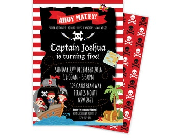 Pirate Invitation, Pirate Party Invitations, pirate birthday invitation, girl pirate, pirate party, pirate invite, pirate printables