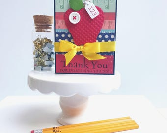 Card for Teacher -  Teacher Card -  Thank you Card -  Teacher Greeting Card
