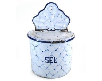 French Blue Salt Box, Graniteware Enamelware, Storage Canister, Salt Cellar