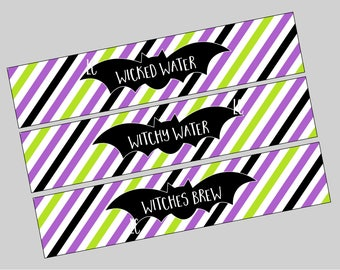 Halloween Witch Water Bottle Labels. Wicked Water, Witchy Water, Witches Brew Printable Bottle Labels. Instant Digital Downloads Witch Party