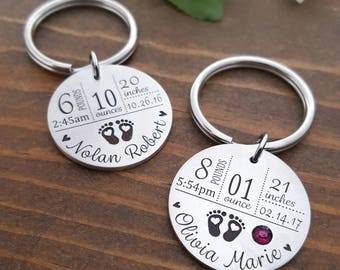 New Mom Keychain | New Mom Gift | Baby Stats Keychain | New Baby Keychain | Baby Arrival Gifts | New Mom Gift | First Time Mom Gift | Baby