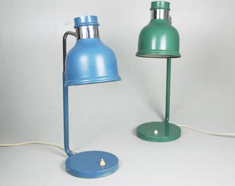 METAL TABLE LIGHT Late Mid century Work Lamps // Retro style office Green and Blue Decorative Industrial Lighting