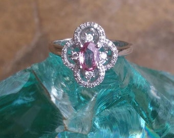 Pink Sapphire and diamond ring white gold, Vintage pink sapphire ring, Alternative engagement ring