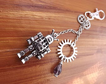 Steampunk bag charms, robot  bag charms, purse charms, robot purse charms, bag dangles, bag jewellery, bag decoration