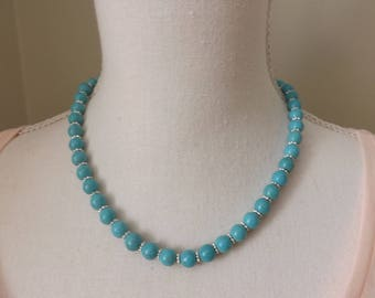 Turquoise and silver choker necklace, turquoise necklace, blue necklace, summer necklace, Boho necklace, festival jewellery, gypsy necklace