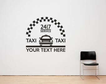 Custom Text Taxi, Mini Cab, Private Hire, Uber Car Business Decal Sign Sticker for Windows, Walls, Vehicles and more. (#170)