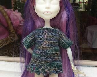 Merino wool blue-green crochet tunic, for Monster High doll or similar