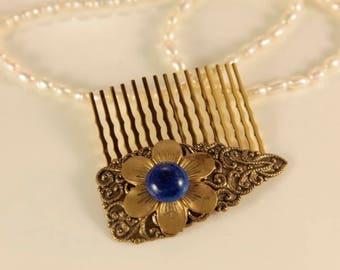 Bronze Hair Comb Lapis Lazuli Head Comb Blue Flower Headpiece Wedding Head Clip Etched Hair Comb Antique Hair Accessory Floral Head Comb