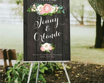 EBONY Dark Wooden Sign Wedding Welcome . Peony Dusty Miller Rose Garland Ranunculus Gray Calligraphy Printed on Paper • Foam Board • Canvas