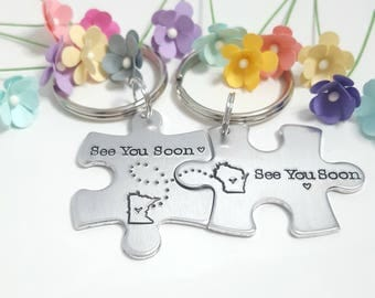 See You Soon Keychain, State Keychains, Couples Keychain, Long Distance Relationship, Personalized Gifts, Boyfriend Gift, Anniversary Gift