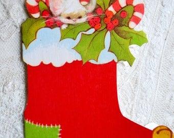 Vintage Christmas Card - Hallmark Mouse Stocking - Die Cut Unused