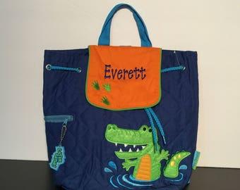 Stephen Joseph Quilted Backpack Alligator Monogrammed School Backpack