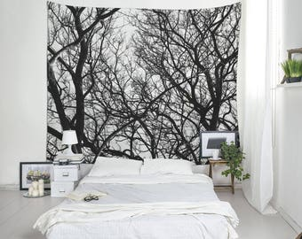 Black And White Tapestry, Nature Tapestries, Branches Art, Nature Decoration, Tree Tapestry, Large Tapestries