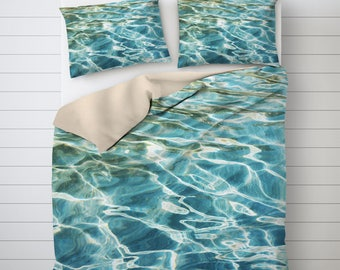 Water Photo Bedding, Beach Duvet Cover, Nautical Decoration, Turquoise Duvet Cover, Photo Print, Single Bed Duvet Cover, Bedding Sets