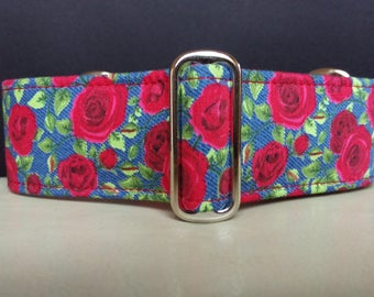 "Martingale Collar - Whippet, Greyhound, Italian Greyhound - 1"", 1.5"" and 2"" width - Roses 'n' Denim"