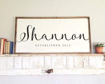 SMALL Family Last Name Wood Sign, Personalized Family Established, Wedding Year Gift, Hand Painted, Farmhouse Sign, Anniversary 24 x 10