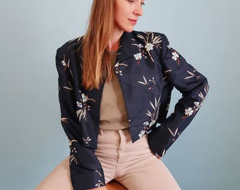 Amazing Navy Blue Vintage SILK Blazer with Embroidered Floral Print