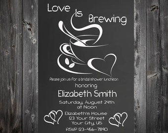 Love Is Brewing Bridal Luncheon Inviation