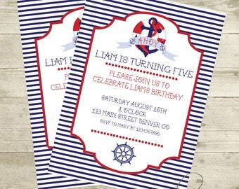 Free thank you card included - Nautical Birthday, Nautical Birthday Invitation, Nautical Printables, Nautical Birthday Decorations