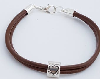 Simple brown leather bracelet with single heart  charm