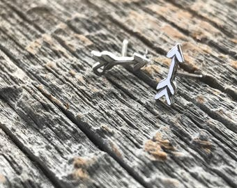 Recycled Arrow Sterling Silver Studs, Simple friendship symbol earrings