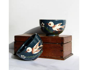 Swallow bowls - vintage ceramic pair of bowls with midnight blue glaze and swallow swift bird decorations unusual gift - pampered pet bowls
