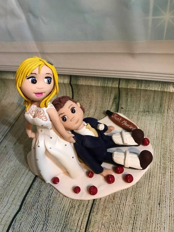 Fully personalised clay Wedding Cake Topper highly detailed and fully sculpted cricket/Sport - Keepsake bride dragging groom