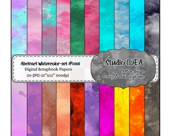 "Watercolor Digital Scrapbooking Paper- 12""x12""-300dpi-Digital Design Paper- Abstract Watercolor Paper style -INSTANT DOWNLOAD"