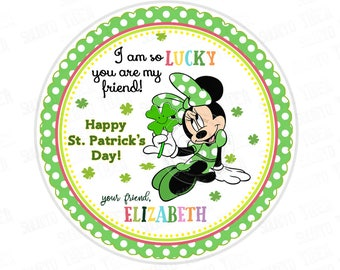 """St Patrick's Day Printable Tags-Minnie Happy St Patrick's Day-D.I.Y Tags- Personalized Stickers (You Print) 2.5"""" tag"""