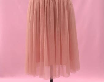 Blush pink ballerina tulle skirt with a satin waistband | calf length skirt| Bridal wear | prom wear