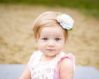 Headbands for babies - Baby Blue and Blush - felt flower headband for baby - Light blue