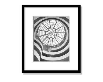 Guggenheim Museum, New York Photography, Black and White, Guggenheim Ceiling, Window, Spiral, NYC, Abstract, Architecture, Wall Art Print