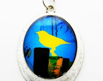 Glass Pendant Necklace with Silver Chain-
