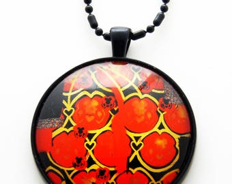 Glass Pendant Necklace with black chain- Fallen