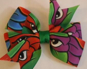 Teenage Mutant Ninja Turtle Hair Bow, Leonardo Hair Bow, TMNT Hair Bow, Ninja Turtle Hair Bow, TMNT Bow, Rafael Bow, Red Turtle Hair Bow