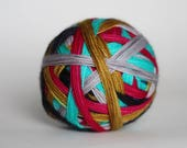 """Dyed to Order: """"Starlight (5 color self-striping)"""" - Gold, Silver, Magenta, Navy, Aqua Blue Stripes"""