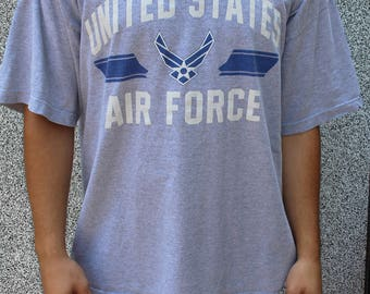 Slouchy T-Shirt / US Air Force / XL / Wide Neck & Boxy / 90s Graphic Tee / Free Shipping