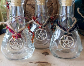 Witch Bottles, Apothecary Bottle, Potion Bottle, Glass Bottle, Pentacle Charm, Empty Bottle, Witchcraft Supply, Wicca, Wicca Supplies
