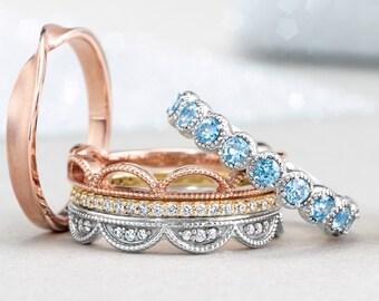 14K White Gold Genuine Aquamarine Anniversary Band Wedding Ring US SZ 7, Romantic Vintage Beaded Design