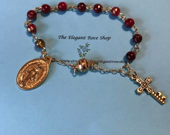 Beautiful One Decade Rosary Bracelet with Gold Hardware