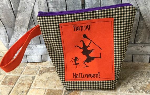Happy Halloween Project Bag,Halloween knitting bag,Halloween Crochet bag,Sock Sack,knitting project bag,Toad Hollow Bags,Wedge Bag