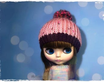BLYTHE, Pullip, SD, SD+ Hat - Knitted Multicolor Hat With Pompom #23