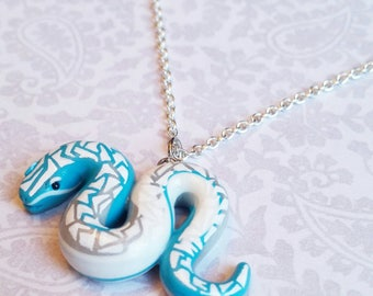 Blue Snake Pendant. Miniature, Polymer Clay Animal Jewelry.